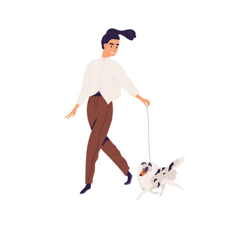 Happy young woman walking with purebred small dog. Pet owner leading her Shetland doggy on leash. Female character and sweet little Sheltie. Colored flat vector illustration isolated on white Ilustrace