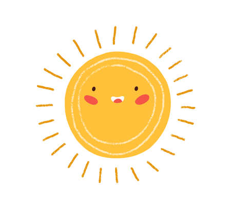 Cute happy summer sun with rays. Childish drawing of solar circle in Scandinavian style. Sunny weather doodle icon. Colored flat textured vector illustration isolated on white background Ilustrace