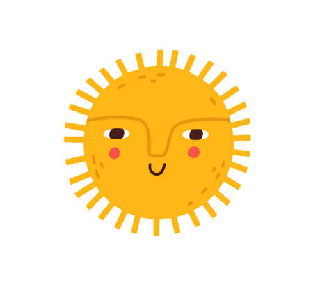 Cute happy smiling sun with funny face. Hot summer sunny weather icon. Childrens Scandinavian doodle drawing. Childish colored flat graphic vector illustration isolated on white background