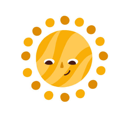 Cute happy summer sun looking down. Sunny character with funny smiling face. Drawing in Scandinavian style. Doodle weather icon. Colored flat graphic vector illustration isolated on white background.