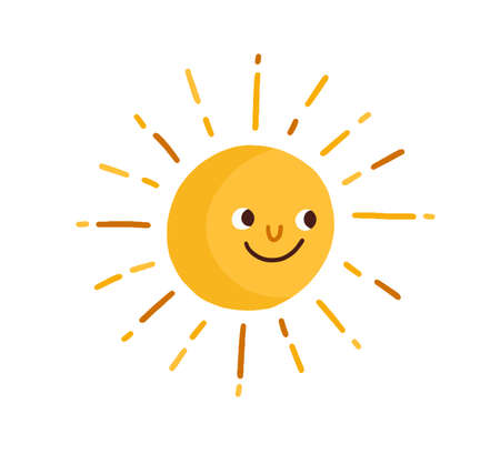 Cute happy smiling sun with rays. Childish drawing in Scandinavian style. Hot summer weather icon. Funny sunny character. Colored flat vector illustration isolated on white background