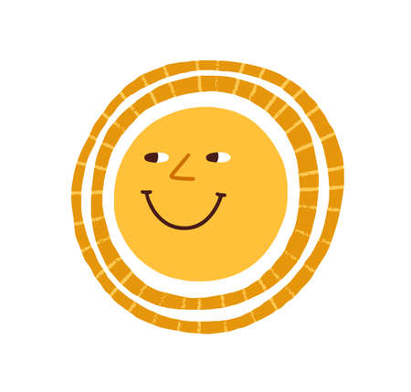 Cute funny smiling sun. Happy hot summer weather icon. Childish Scandinavian doodle drawing. Positive sunny character. Colored flat graphic vector illustration isolated on white background Ilustrace