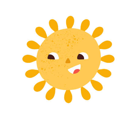 Happy smiling cute sun. Hot summer sunny weather icon. Childish Scandinavian doodle drawing. Positive character. Childrens colored flat graphic vector illustration isolated on white background