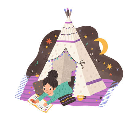 Child reading book in homemade teepee. Girl with storybook in home tent or hut. Kid resting on blanket and cushions in tipi. Colored flat vector illustration isolated on white background
