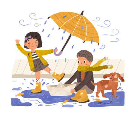 Kids in gumboots playing under rain. Happy cute children with paper boat and umbrella in rainy weather. Boy, girl and pet near puddle. Colored flat vector illustration isolated on white background
