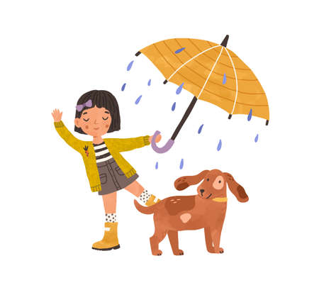 Happy girl walking with cute dog under umbrella, enjoying rain. Kid in gumboots playing or dancing outdoor in rainy weather. Colored flat graphic vector illustration isolated on white background