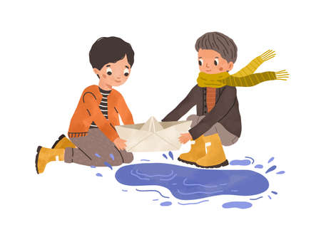 Kids playing with paper boat and puddle in autumn. Children with toy ship near water after rain. Happy friends with papership. Colored flat vector illustration of boys isolated on white background Ilustrace