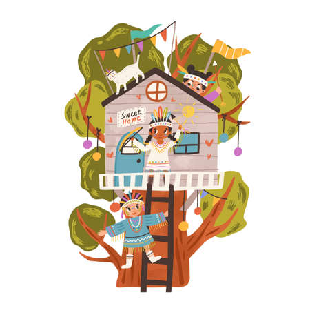 Little kids playing Indians in house on tree branches. Happy active boys and girls having fun in nature. Childrens outdoor activity. Colored flat vector illustration isolated on white background Ilustrace