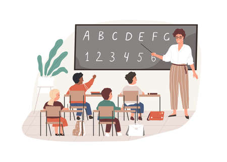 Young teacher with pointer at chalkboard in classroom. Elementary school children studying in class room. Colored flat vector illustration of pedagogue and pupils isolated on white background Ilustrace
