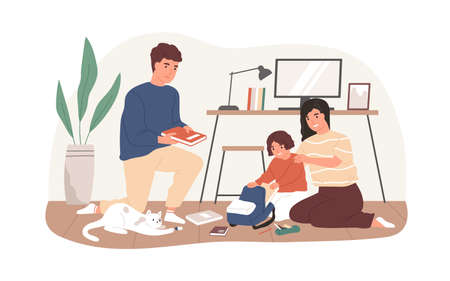 Parents helping to pack school bag for kid. Mother, father and child preparing textbooks and notebooks, putting them into schoolbag. Colored flat vector illustration isolated on white background