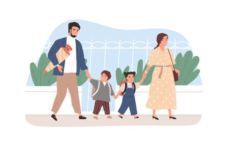 Children going to school together with their parents. Happy boy and girl walking with father and mother. Colored flat vector illustration of mom, dad and schoolchildren isolated on white background