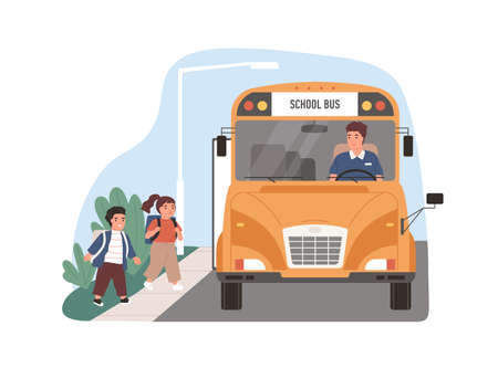Yellow school bus driver arrived at stop with children. Kids entering schoolbus. Transport for schoolchildren. Flat vector illustration of schoolkids transportation isolated on white background