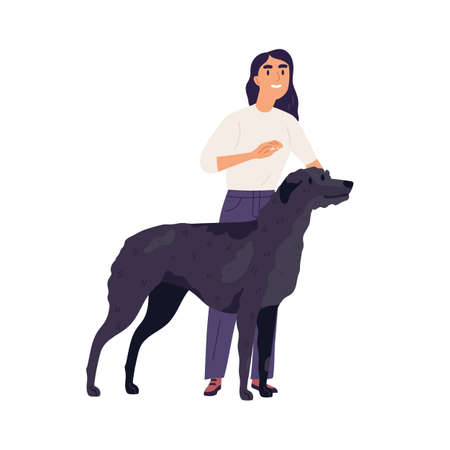 Irish Wolfhound with its owner. Happy person standing with tall black dog. Female doggy trainer and her wolf hound. Flat vector illustration of woman and watchdog isolated on white background