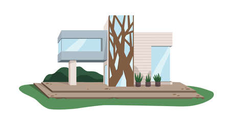 Contemporary architecture of villa building from glass and wood. Modern house design. Suburban real estate exterior. Colored flat vector illustration of property isolated on white background