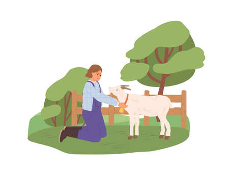 Female farmer with goat on yard. Happy woman in uniform and domestic animal on farm in summer. Rural lifestyle. Stock raising in nature. Flat vector illustration isolated on white background