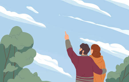 Romantic couple hugging and looking at sky with clouds and distant plane. Man and woman dreaming. Motivation and inspiration concept. Colored flat vector illustration isolated on white background