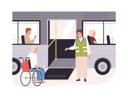 Disabled passenger in wheelchair getting on bus with help of ramp. People in wheel chair in friendly city environment. Flat vector illustration of handicapped person isolated on white background