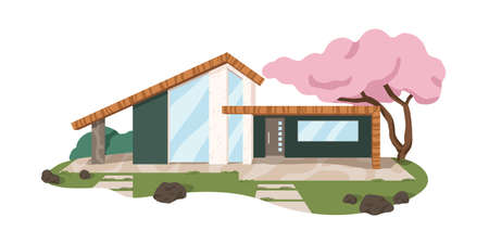 Modern Japanese house architecture. Villa building with blooming sakura tree in yard. Minimalistic home exterior design. Colored flat graphic vector illustration isolated on white background