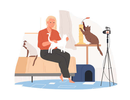 Vet sitting in front of camera with cats and recording video blog about animals, pets. Zoopsychologist creating content for vlog. Colored flat vector illustration isolated on white background