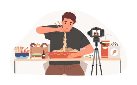 recording Mukbang video for entertainment vlog, eating asian food in front of camera. Vlogger creating content for his channel. Colored flat vector illustration isolated on white background Ilustração Vetorial