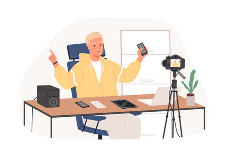 recording video review of new released gadgets. Tech vlogger testing and showing latest laptops, phones, and tablets. Colored flat graphic vector illustration isolated on white background
