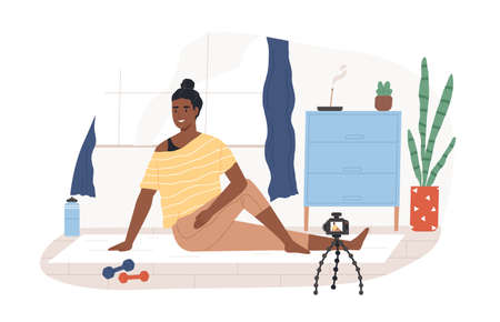 Fitness vlogger on yoga mat recording online video classes of sports exercises. Black-skinned vlogger in front of camera on tripod. Colored flat vector illustration isolated on white background