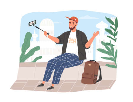 Travel vlogger speaking to phone camera on selfie stick for his lifestyle vlog. Vlogger recording video for social media. Colored flat vector illustration of influencer isolated on white background