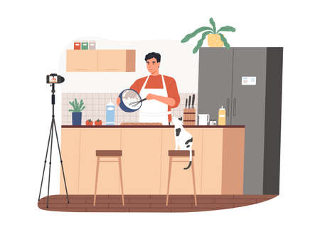 Food vlogger cooking meal and recording video in front of camera. Man in kitchen showing recipe in his vlog. Online class from Chef. Colored flat vector illustration isolated on white background