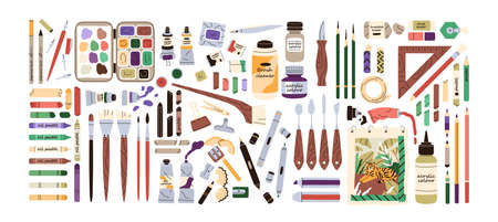 Set of artists painting supplies, tool kits and accessories. Crayons, erasers, brushes, colour pencils, acrylic, oil and watercolor dyes. Flat vector illustration of stationery isolated on white