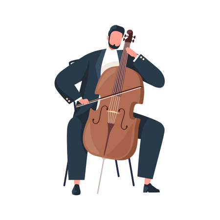 Musician holding bow and playing cello. Cellist performing classic music on string instrument. Violoncellist sitting with violoncello. Colored flat vector illustration isolated on white background