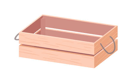 Empty wooden box with twine handles. Wood crate from plywood for farms, gardens and markets. Open rectangular container from planks. Realistic colored flat vector illustration isolated on white