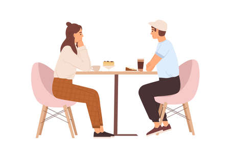 Young love couple sitting at table with coffee in cafe. Date of happy enamored man and woman. Romantic dating of people in cafeteria. Colored flat vector illustration isolated on white background Ilustración de vector