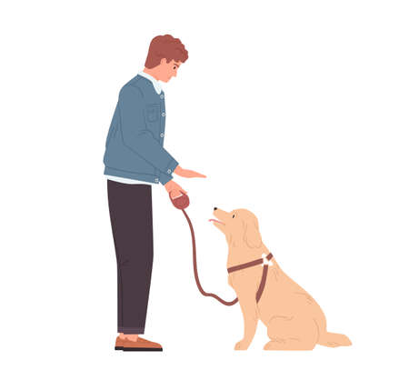 Young man teaching and training his dog to sit by hand gesture command. Well-behaved doggy and pet owner. Person coaching obedient puppy. Colored flat vector illustration isolated on white background