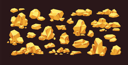 Set of isolated gold mine nuggets and rocks. Piles and heaps of golden gem stones. Solid jewels of natural shapes. Big and small shiny crystals of gemstones. Colored flat vector illustration Vetores