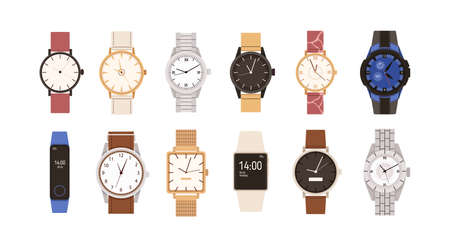 Set of modern and vintage wristwatches. Fashion design of wrist watches with silver, gold and leather straps. Men and women hand clocks. Colored flat vector illustration isolated on white background