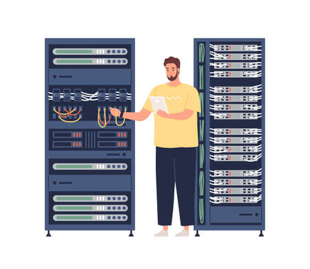 Engineer repairing server, adjusting network connection. Sysadmin maintaining and fixing malfunctions and problems with internet. Colored flat vector illustration isolated on white background