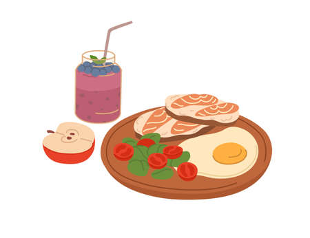 Healthy food for breakfast or lunch. Toasts with salmon slices, fried egg, fresh vegetables on wooden board, apple and berry smoothie. Colored flat vector illustration isolated on white background Vector Illustration