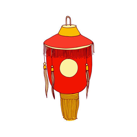 Chinese paper lantern with fringe and sun symbol. Hanging street lamp with loop and candle inside. Asian festival light. Traditional oriental decor. Graphic vector illustration isolated on white Vector Illustration