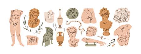 Set of abstract ancient Greek classic statues and sculptures, drawn in modern style. Vektoros illusztráció