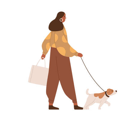 Young woman walking with dog. Dark-skinned person in casual clothes with pet on leash during stroll. Colored flat vector illustration of modern female character isolated on white background