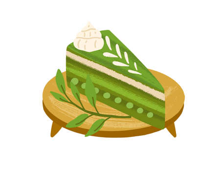 Piece of matcha cake with green tea flavor, served on wooden board with leaves. Japanese vegan dessert. Healthy Asian sweet food. Colored flat vector illustration isolated on white background Vektoros illusztráció