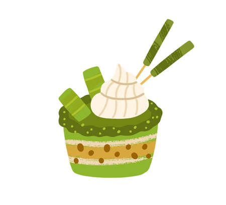 Japanese cupcake with matcha green tea flavour. Asian natural vegetarian sponge dessert. Healthy oriental dairy-free sweet food. Colored flat vector illustration isolated on white background