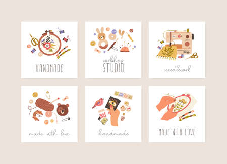 Cards set with sewing, embroidery, needlework, crochet and bead craft hobbies. Design of stickers with different handicrafts, and Handmade and Made with Love inscriptions. Flat vector illustration Vektorgrafik