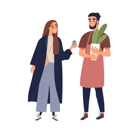Couple of people with potted interior plants in hands. Man and woman talking about houseplants. Botanist advisor consulting person. Colored flat vector illustration isolated on white background Vektoros illusztráció