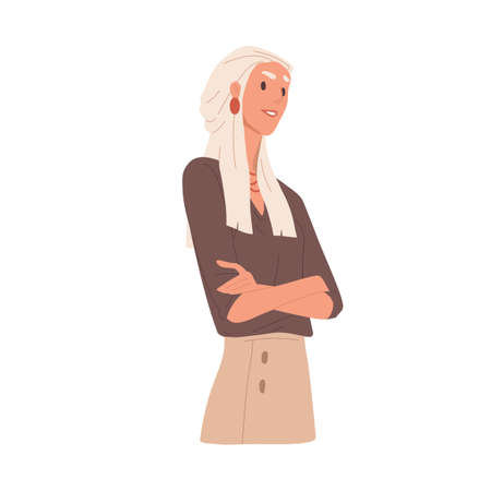 Portrait of arrogant selfish woman. Bossy businesswoman looking with neglect and feeling superiority. Self-confident person. Colored flat vector illustration isolated on white background