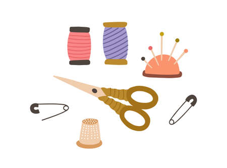 Set of sewing accessories. Thread spools, pad with pins, scissors and thimble. Tailors supplies for needlework. Flat vector illustration of items for handicraft isolated on white background Vektorgrafik