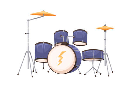 Modern drum kit or set. Percussion music instrument with metal hi-hats, cymbals and toms. Realistic flat cartoon vector illustration isolated on white background Ilustração Vetorial