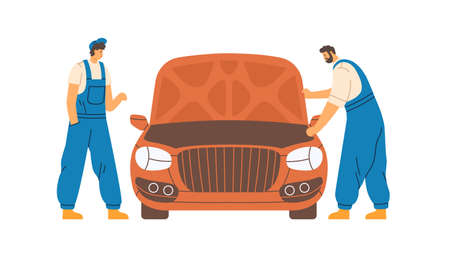 Mechanics checking and repairing auto in car repair service. Workers and automobile with hood up. Repairman in overalls fixing vehicle. Colored flat vector illustration isolated on white background Vetores