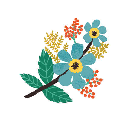 Blooming wild flowers, leaves and red berries. Modern botanical floral composition of blossomed meadow plants. Colored flat vector illustration of beautiful wildflowers isolated on white background