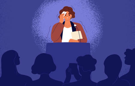 Woman feeling fear and anxiety before stage speech. Nervous shy speaker with fright of audience. Lecturer sweating at public speaking. Glossophobia concept. Flat vector illustration of anxious person